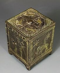 Vintage Looking Metal Coin Block Bank W/ Zoomorphic And Anthropomorphic Decoration