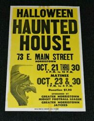 Vintage Antique Halloween Haunted House Rare Horror 14.5x23 Poster Witch Spooky