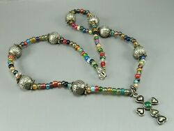 Super Sweet BEADED NECKLACE Multi Color Glass Beads SILVER CROSS PENDANT Artisan