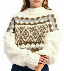 New Free People Alpine Crop Mock Neck Sweater Forest Combo Size Large L