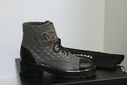 New Sz 10 / 40.5 Gray Leather Quilted Cc Chain Combat Lace Up Ankle Boot