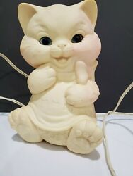 Vintage 1960s Large Kittie Ashland Rubber Toy Converted Into Lamp