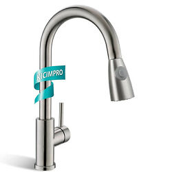 Commercial Brushed Nickel Pull Out Kitchen Faucet Sink Pull Down Sprayer Mixer