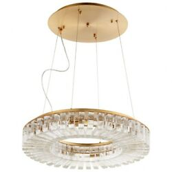 Campion Dell - 23.75 Inch 56w 8 Led Pendant  Aged Brass Finish With Clear Glass