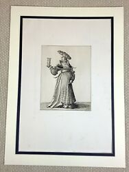 1890 Antique Engraving Hans Holbein Young Lady Girl The Cabaret Performer Rare