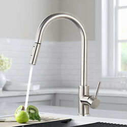 Brushed Nickel Kitchen Faucet Sink Swivel Spout Single Lever Mixer Tap