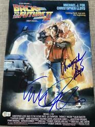 Michael J Fox Christopher Lloyd Back To The Future 2 Signed 12x18 Poster Bas B