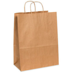 13 X 7 X 17 Inches Kraft Brown Mailers, Shopping Bags With Handles - 2500 Pack