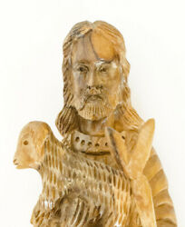 Vintage Old Sculpture Wood Wooden Hand Carved Jesus Christ With Lamb Germany