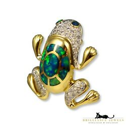 Blue- Green Opal And Diamond Frog In 14k Yellow Gold Pin/ Pendant