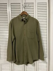 The Territory Ahead Olive Green Textured Long Sleeve Casual Shirt Mens Large L