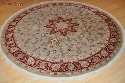 On Sale Wool And Silk Rug 7x7 Ft. Round Rug Top Quality Siege Green 200 Knots