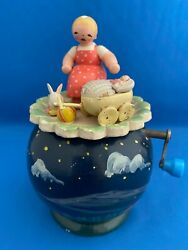 Erzgebirge Wendt Kuhn Thorens Music Box Girl With Doll Carved Wood East Germany