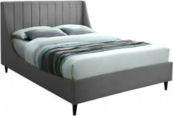 Full Size Bed Gray Velvet Bedroom Furniture Contemporary Deep Channel Tufting