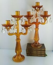 Pair Antique 1890's English Victorian Amber Glass Candelabra Candlestick Holders