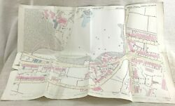 1890 Antique Map Of Huddersfield Royds Hall Manor House Hand Coloured 19th C