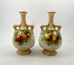 Pair Royal Worcester Fruit Painted Vases Dated 1906. Signed F. Parker.
