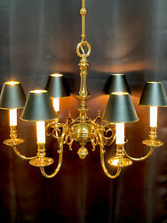 """Vintage Stately Solid Brass Bouillotte Chandelier French Colonial Georgian 26"""""""