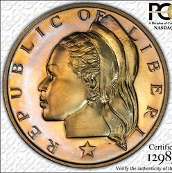 Finest And Only Liberia 1970 Pcgs Pr66 Cameo 50 Cent Fifty Liberty Gold Toned 50c