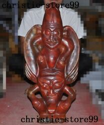 Weird China Hongshan Culture Red Crystal Hand-carved Sun God Helios Statue