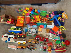 Huge Lot Vintage Toys 1960s 70s 80s Fisher Price Hasbro Buddy L Tupperware +more