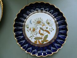 Antique Spode Floral Plate Butterfly Jewels Dandelions Ruffled Rims Aesthetic Hp
