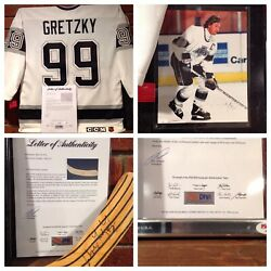 Wayne Gretzky Hof Signed Game Jersey, Hockey Stick And Picture Plaque Psa/dna.