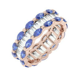 3.50ct Channel Set Baguette And Marquise Blue Sapphire Eternity Ring In 18k Rg