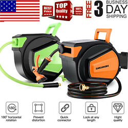 50ft/65ft Wall Mounted Retractable Garden Water Hose Reel Holder Auto Rewind