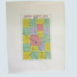 Antique 1908 Darke County Ohio Map Large Railroad And Township Color Map 27x22 A