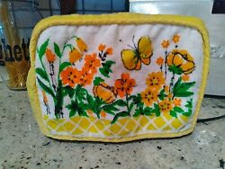 Vintage 1970s Toaster Cover Flowers Butterflies