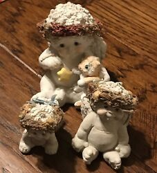 Dreamsicles Collectibles Lot Of 3 Angel Figurines Kitty Cat Porcelain Sculptures