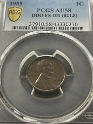 1955 1955/55 Ddo Doubled Die Obverse Pcgs Au58 Fs-101 Wheat Cent 1c Lincoln