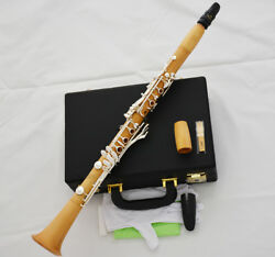 Professional Boxwood Wooden Clarinet Silver Plated 19 Key Italian Pad With Case