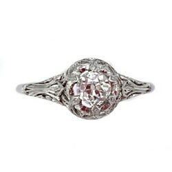 Solitaire Ring In Style Liberty Gold And Diamond Cut Antique - 0.35-0.40 Ct