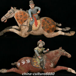 23.6 Antique Chinese Tang Sancai Pottery Women People Ride Horse Statue Pair