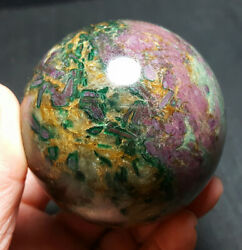 487.9g Natural Multi-colored Red Green Yellow Jasper Crystal Ball Healing Wb199