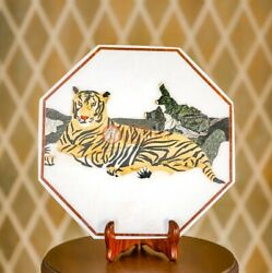 12 White Marble Decorativetop Plate Handmade Tiger Arts Collectible Gift Decors