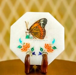 Marble White Antique Plate Collectible Handmade Butterfly Inlay Art Home Decors