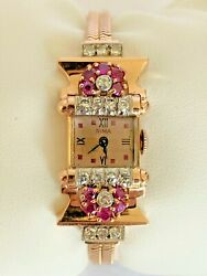 Art Deco Rima 14k Rose Gold With Rubies And Diamond Vintage Wristwatch