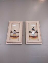 Pair Of Navaho Paintings/sand Art A Boy And Girl Depicted In The Desert Wall Art