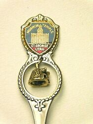 Silver Plated Souvenir Spoon Utah With Bell Ornament/ Mormon/ St. George