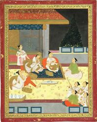 Indian Miniature Old Painting Of Queen With Dassiand039s Enjoying Royal Evening