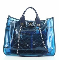 Coco Splash Shopping Tote Quilted Pvc With Lambskin Medium
