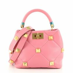 Valentino Roman Stud Top Handle Bag Quilted Leather Small