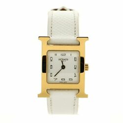 Hermes Heure H Quartz Watch Plated Metal And Leather 21