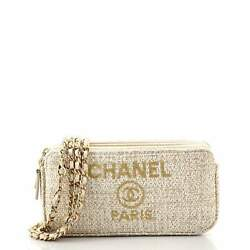 Deauville Double Zip Clutch With Chain Raffia