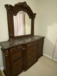 Brown Wooden Dresser 12 Drawer With Mirror Marble Top