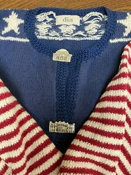 DIA North of Boston Vintage American Flag Sweater size Large