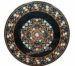 36 Inch Marble Dining Table Top Inlay Multi Color Gemstones Patio Table For Lawn